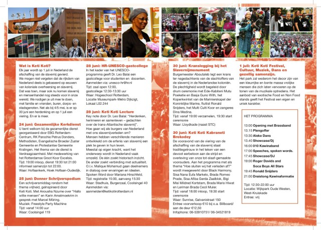 Programma rond Keti Koti Rotterdam, 2017