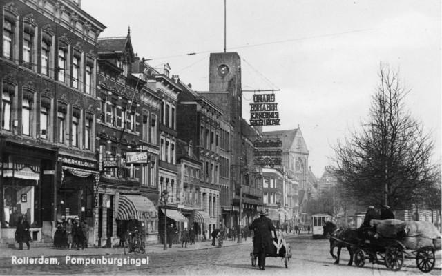 Pompenburgsingel met het Grand Theatre. Abraham Tuschinski stichtte hier Rotterdams eerste avant-gardebioscoop Studio 32. Bron: Stadsarchief Rotterdam