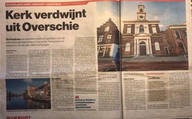 Artikel AD Rotterdams Dagblad; Kerk verdwijnt uit Overschie