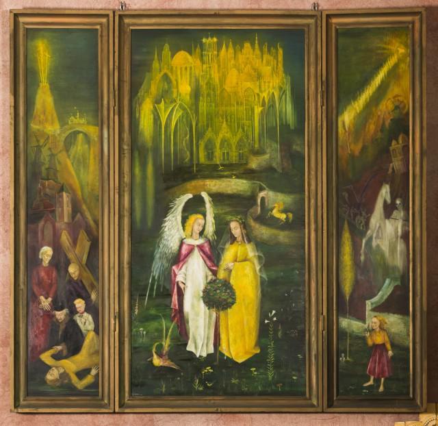 Collectie RCE: Drieluik van Gerard Héman uit 1949, de geestelijke groei van de Heilige Leduina.