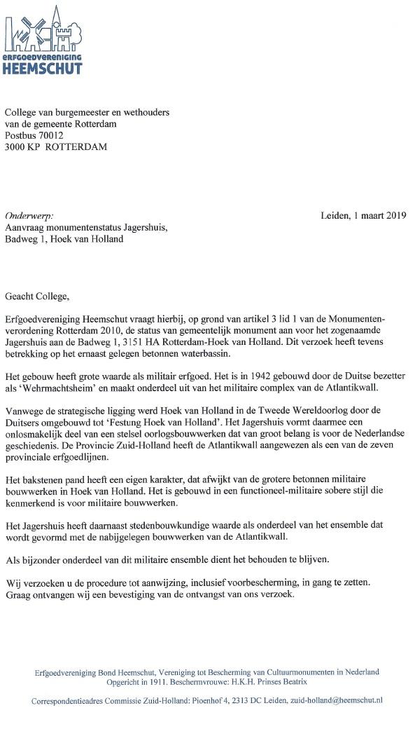 Brief van Heemschut Roterodamum en Cuypers
