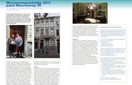 Artikel in de Kroniek 17 (maart 2018) over de Mauritsweg 39