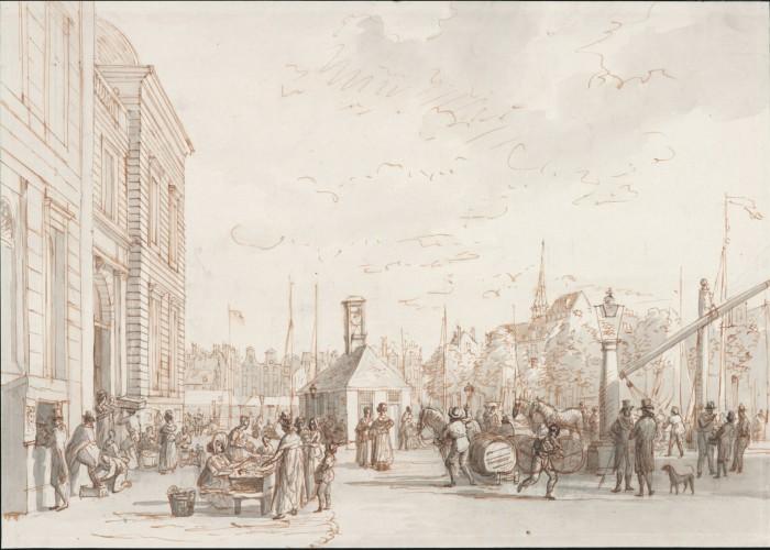 Gerrit Groenewegen. Beursplein, gezien uit zuidelijke richting vanaf de Blaak. Circa 1800 (collectie Stadsarchief Rotterdam)