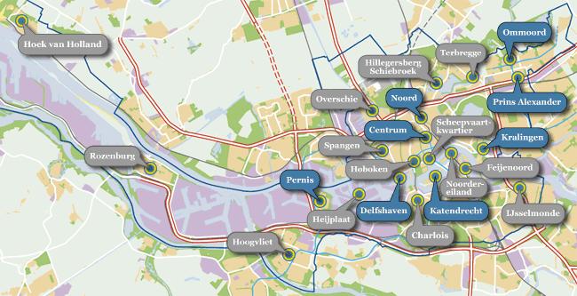 Overzichtskaart van de stichting Rotterdam is vele Dorpen