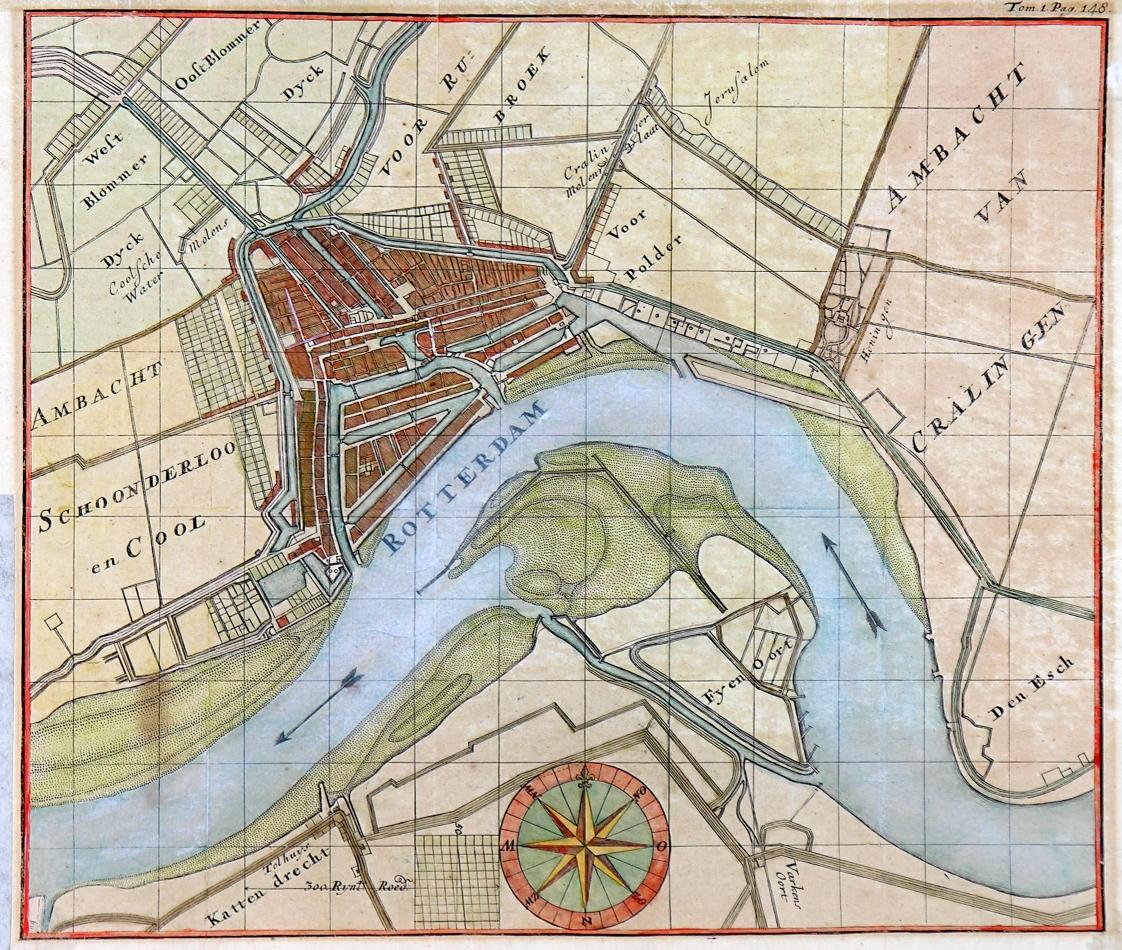 1710 Kaart Van Rotterdam En Omgeving Met Weergave Van De Aanwassen