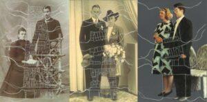 Momenten in familieportretten en stratenpatroon 1910, 1940, 1985